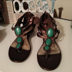 Copper & gold tone sandals w/faux turquoise on top